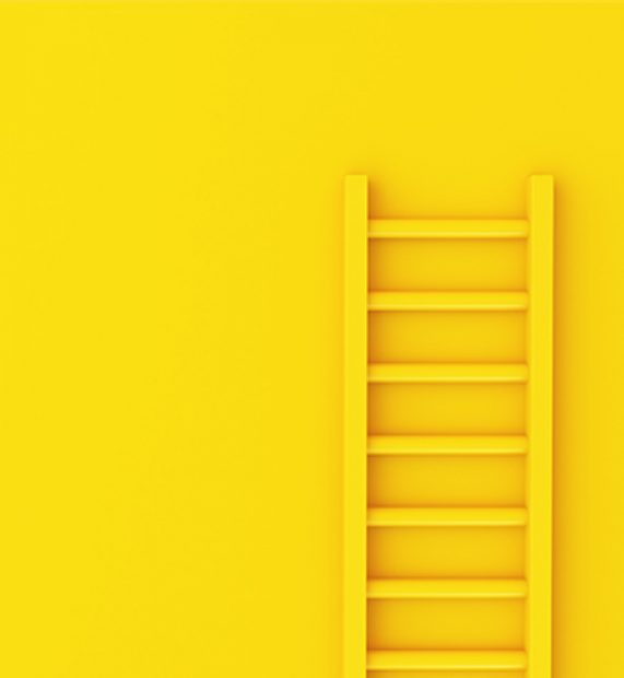3d-ladder-on-yellow-wall-background